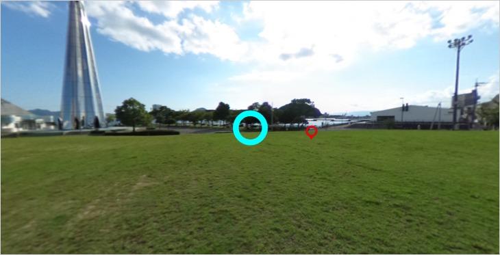 360°写真をの設置デモ画面、2シーン目
